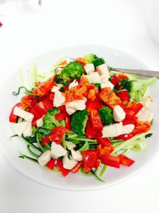 Turkey, red and green salad